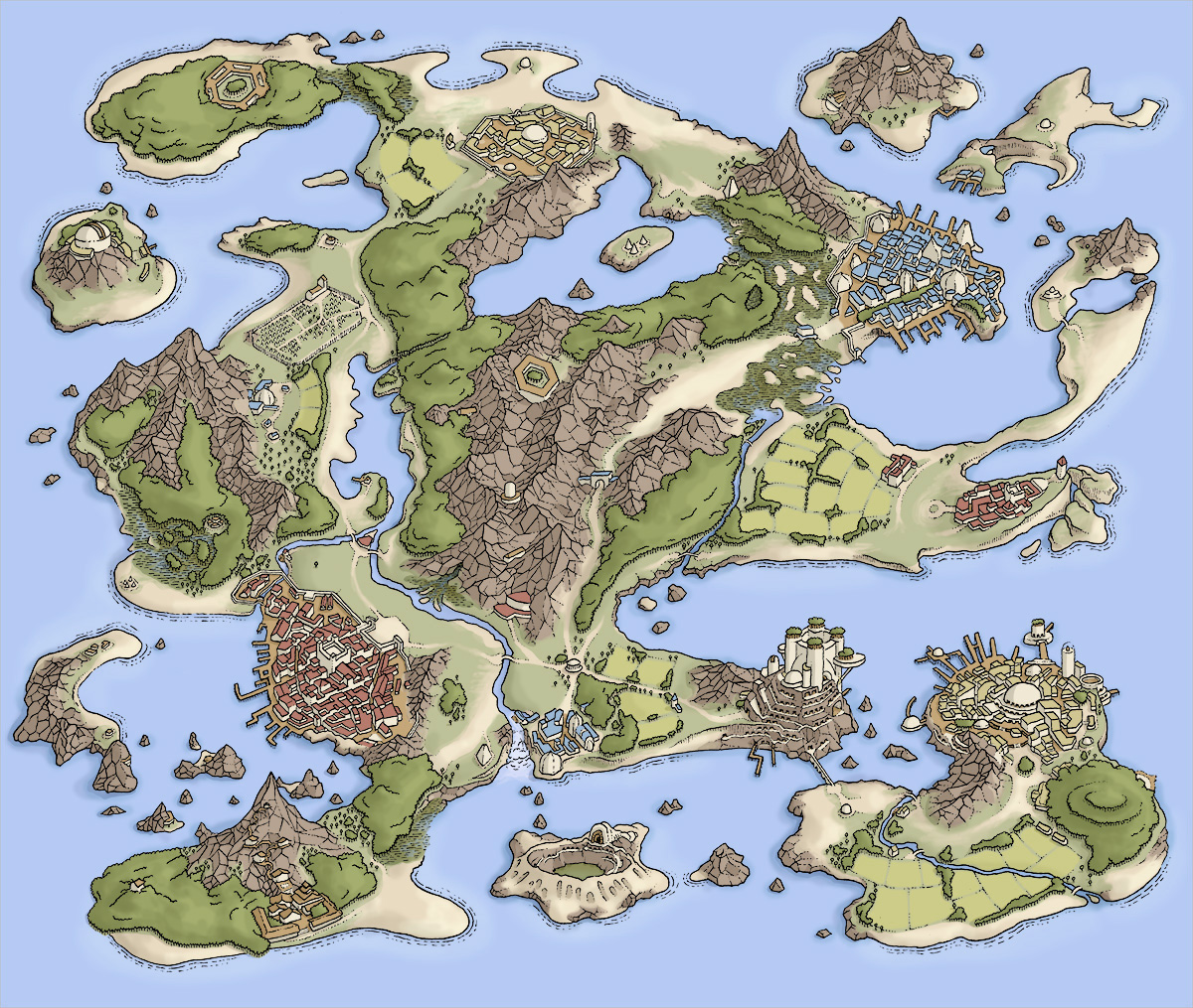 Drawn island With three map fantastical drawn