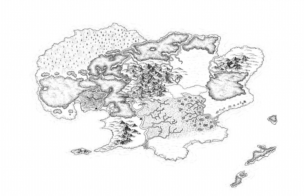 Drawn island black and white And Map Black Island