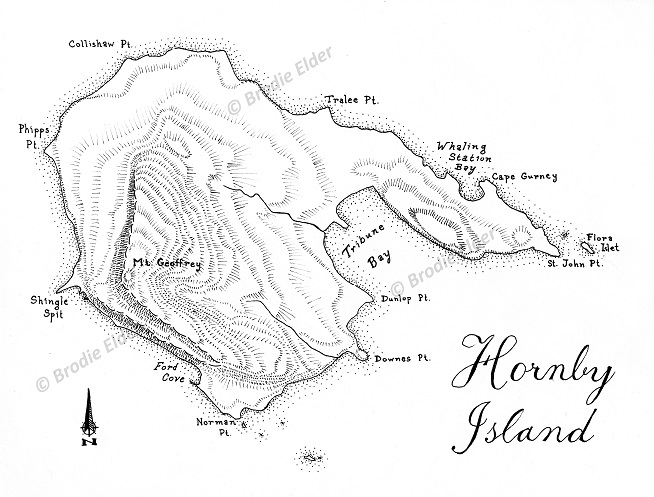 Drawn islet Island Hornby Map Hand –