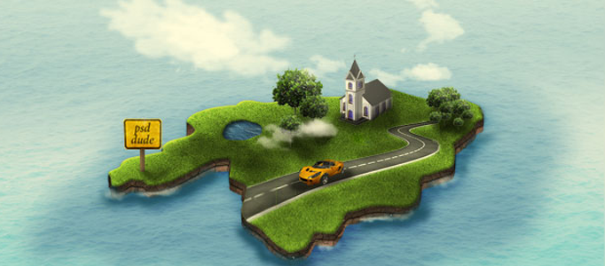Drawn islet animated Tutorial: Effect Photoshop 3D Creation