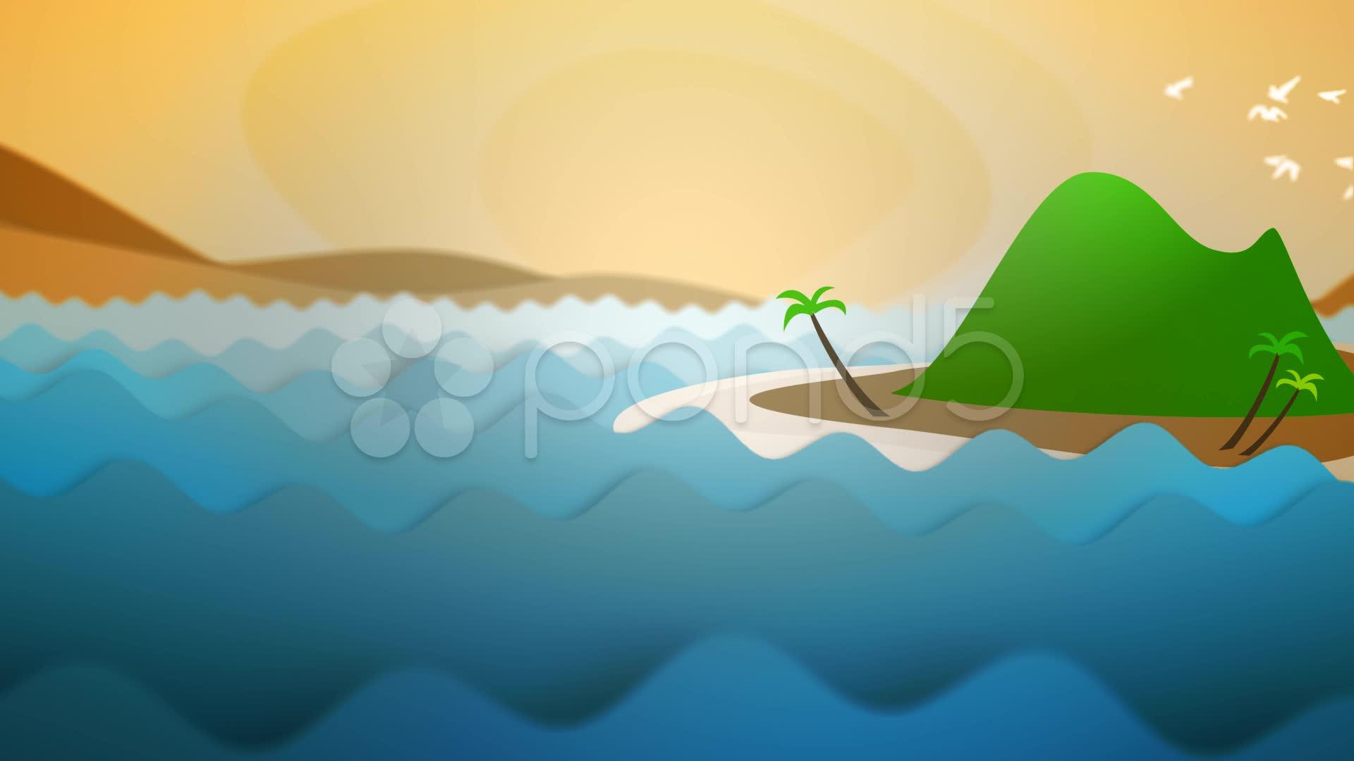 Drawn islet animated #12411682 Island Sunset Cartoon Sunset
