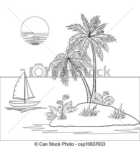 Islet clipart Tropical with with sun ship