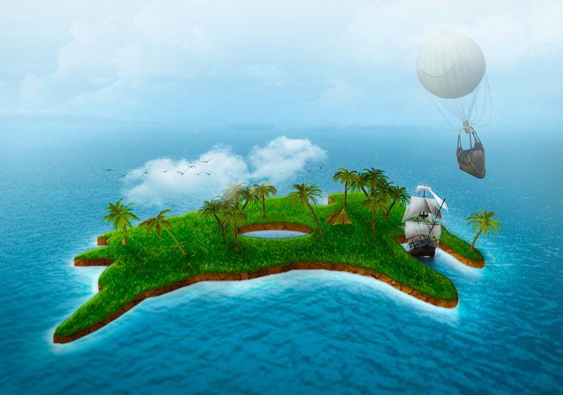 Drawn islet comic Island ru/users a Photoshop 3D