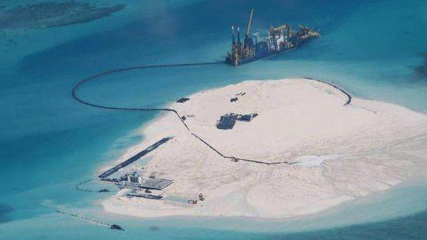 Drawn islet tiny Aerial Sea of China reclamation