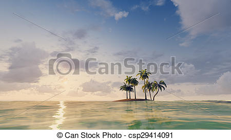 Islet clipart tropical island Island Small ocean Illustration Small