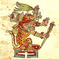 Drawn jaguar smoke In depicted Rios in Tezcatlipoca
