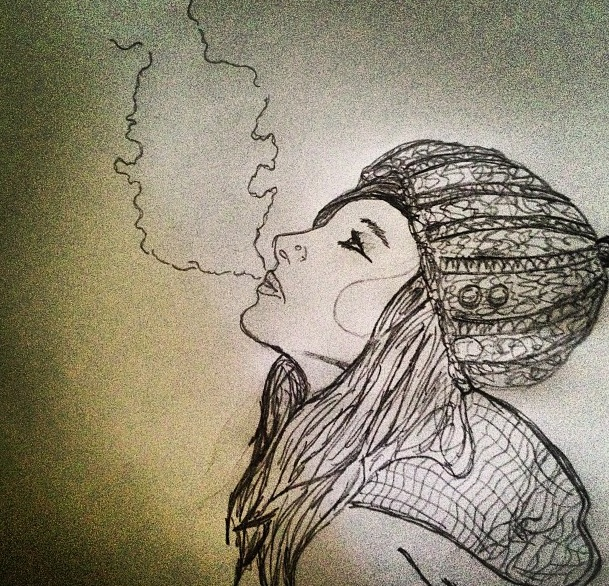 Drawn jaguar smoke Cold smoke doodle hat Girl