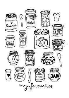 Drawn mason jar Jam by of a jars