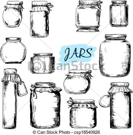 Drawn jar Of Jars Vector illustrations Set