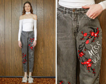 Drawn jeans cherry blossom Love 90s Vintage Black Gap