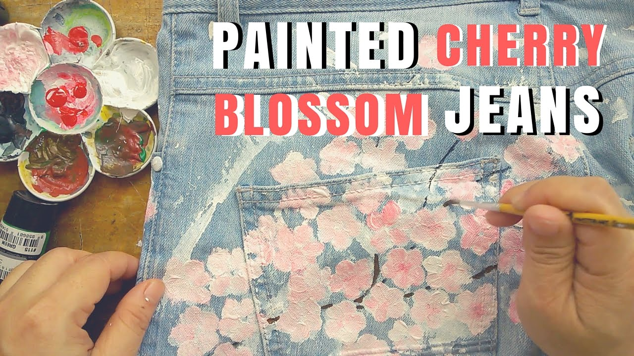 Drawn jeans cherry blossom ) : DIY Paint
