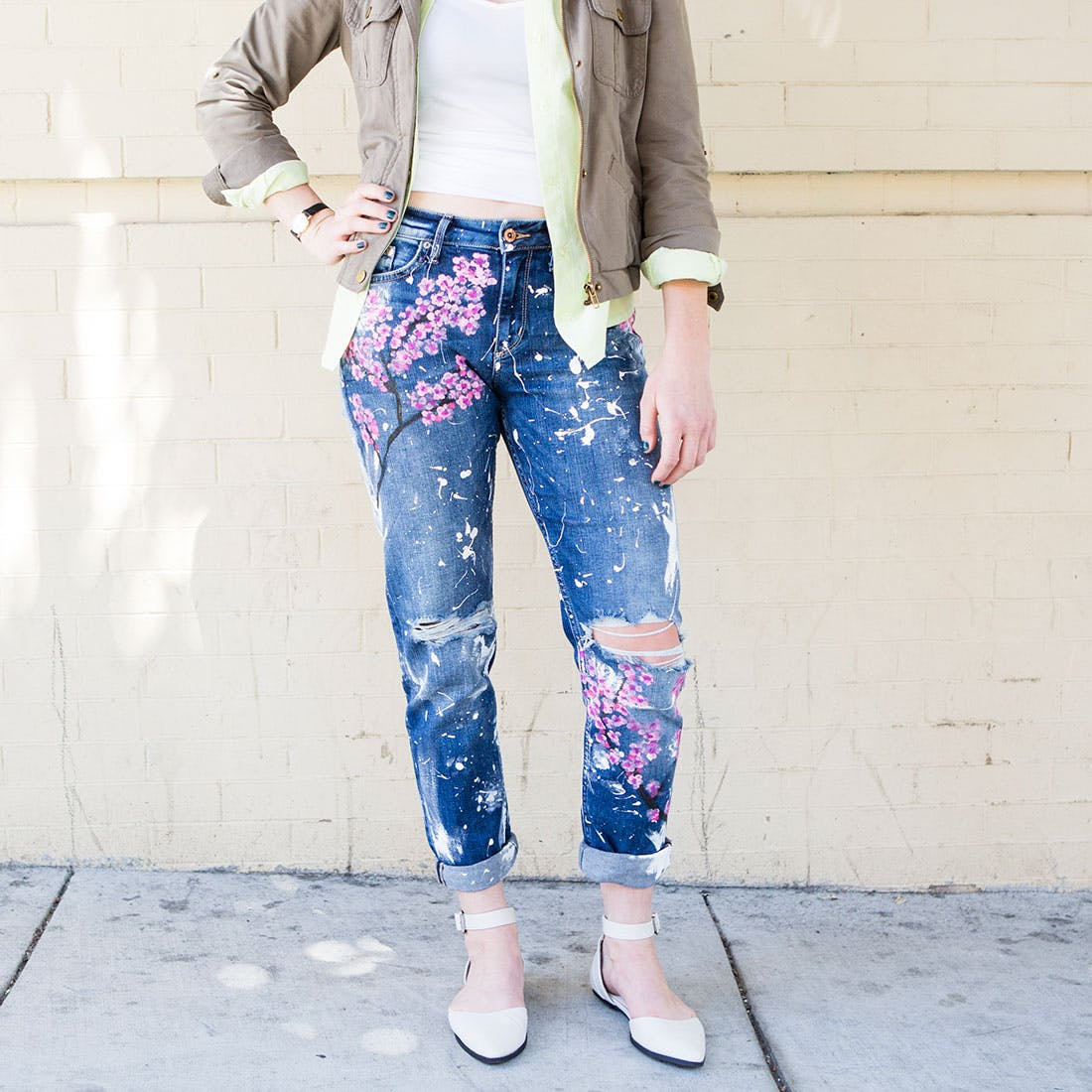 Drawn jeans cherry blossom + to How $500