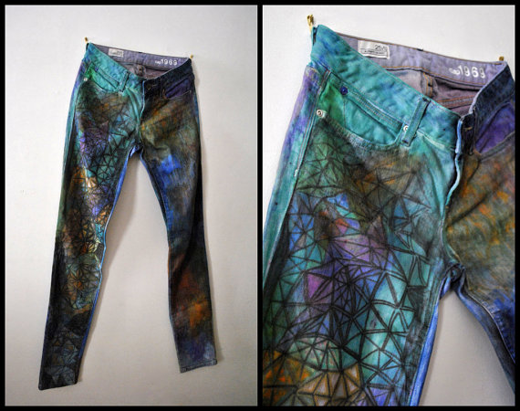 Drawn jeans custom Dyed Color Multi Geometric Upcycled