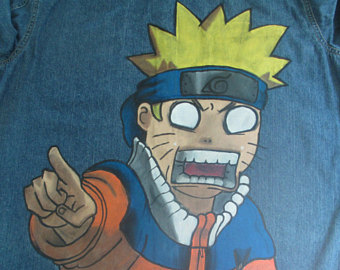 Drawn jeans naruto Jacket Naruto anime geeky jeans