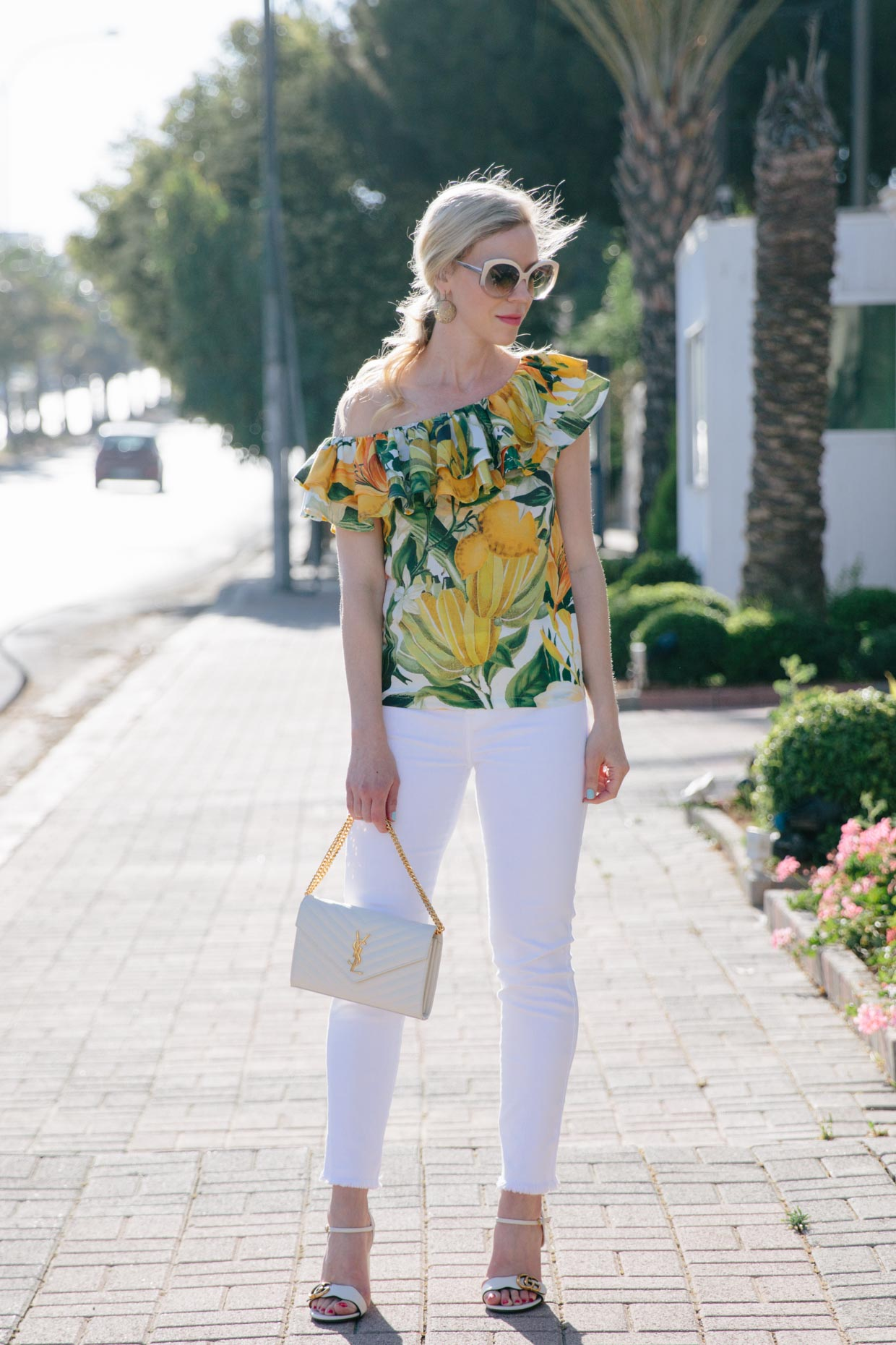 Drawn jeans tropical With Shoulder One Jeans White