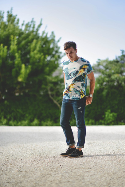 Drawn jeans tropical Menswear shoes shirt outfits summer