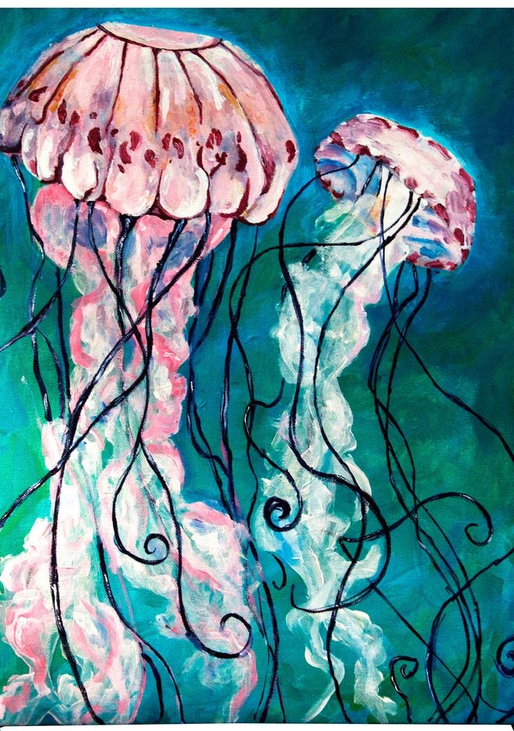 Drawn jellyfish acrylic painting Best 00 Etsy Jellyfish Paintings