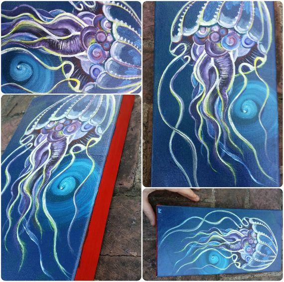 Drawn jellyfish acrylic painting 00 KnottiRoots Pinterest Etsy and