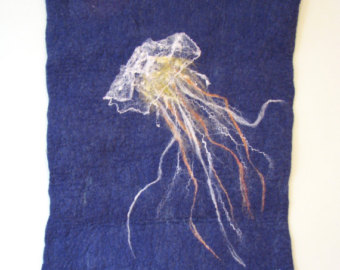 Drawn jellies felted Felted Hanging Wall Fine jellyfish