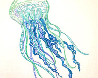 Drawn jellies felted Drawing jellyfish Jellyfish Colorful decor