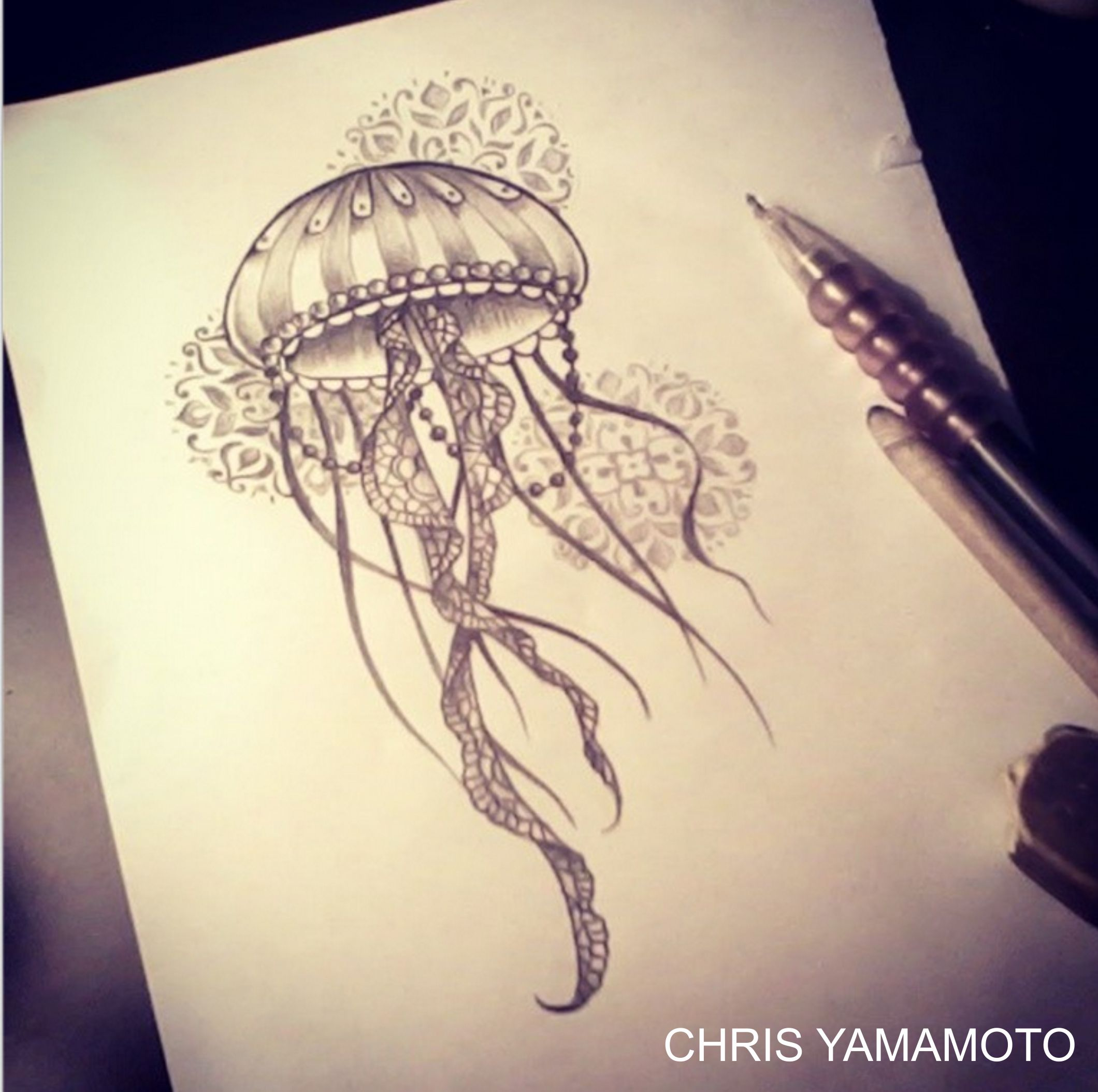 Drawn jellies mandala  jellyfish by tattoo #chrisyamamoto