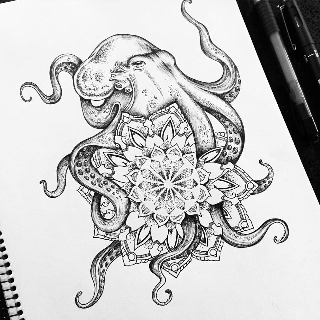Drawn jellies mandala :) Octopus mandala Octopus !