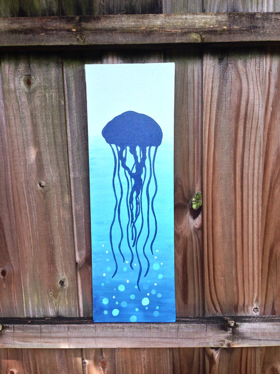 Drawn jellyfish acrylic painting Bubbles Painting and Jellyfish Acrylic
