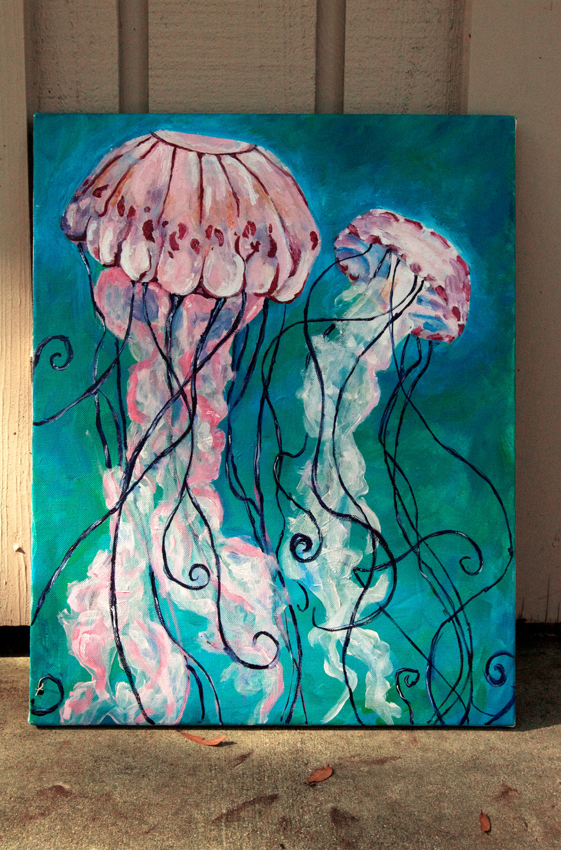 Drawn jellyfish acrylic painting 00 KristaLize Etsy Etsy silk