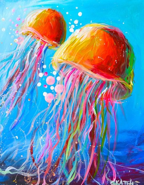 Drawn jellyfish acrylic painting 25+ more Beginner Paint
