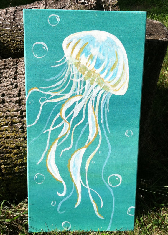 Drawn jellyfish acrylic painting $60 canvas Painting by Pinterest