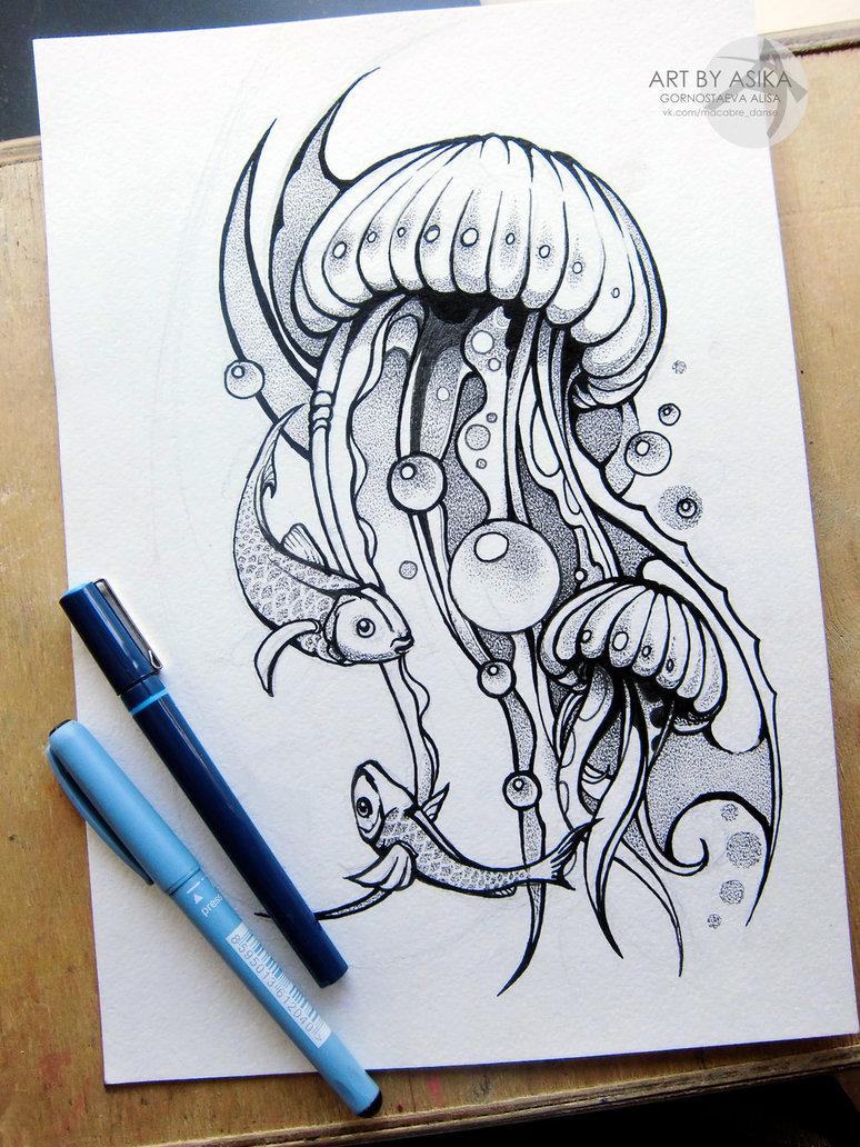 Drawn jellyfish little fish Www PAGE: facebook com/TheBLACKBEARD… com/TheBLACKBEARD…