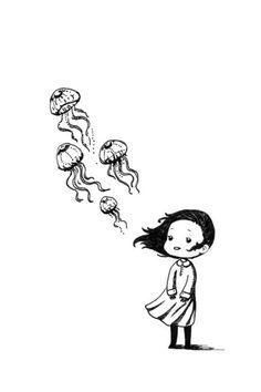 Drawn jellyfish little fish The like idea jellyfish jellyfish