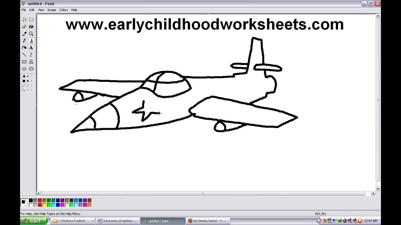 Drawn airplane animated By Step Easy How Kindergarten