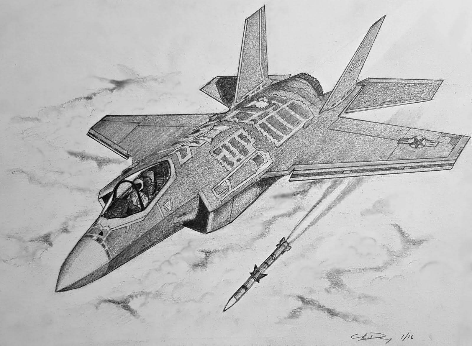 Drawn jet f 35 How  Lightning II 35