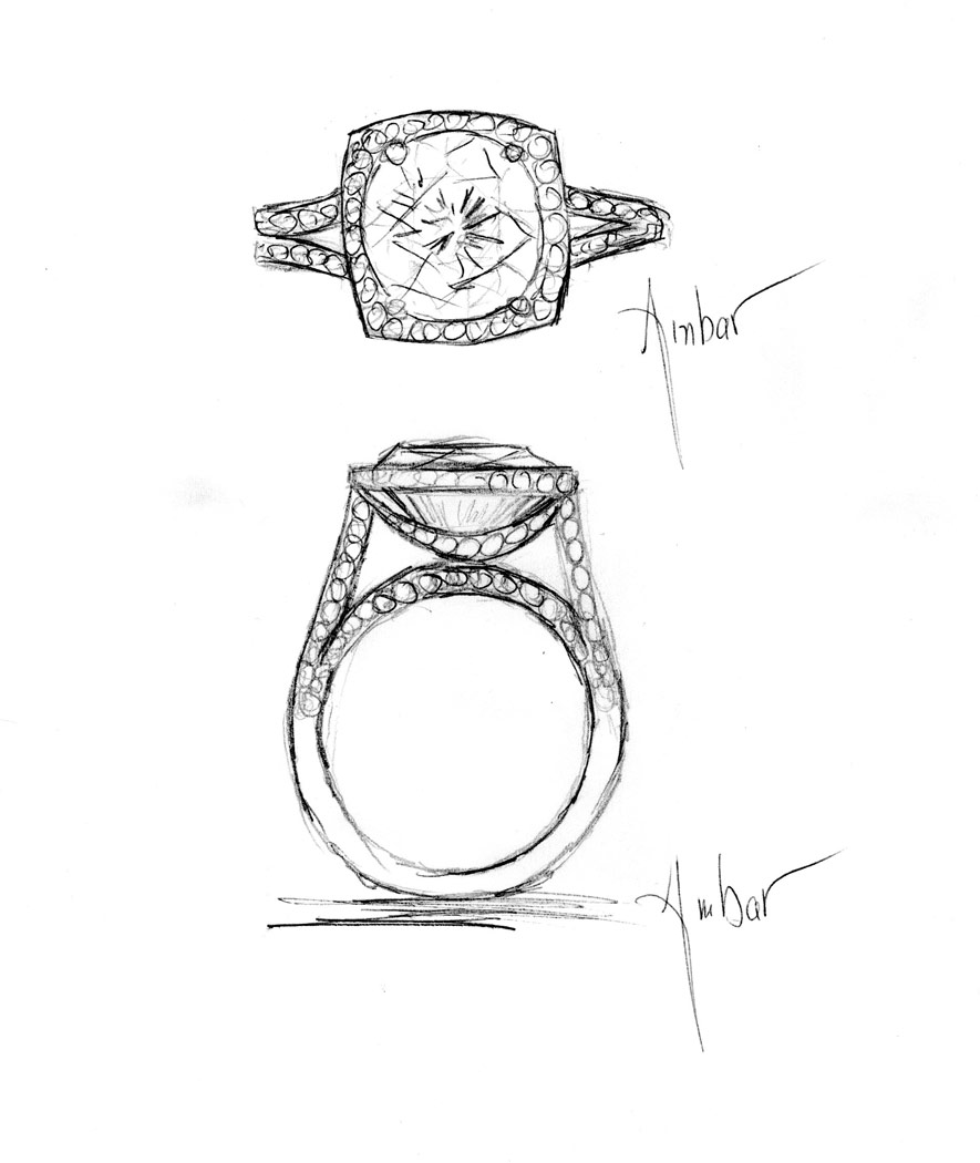 Drawn jewelry diamond ring Archives engagment pave Hand a
