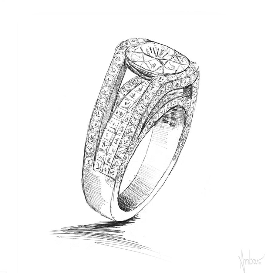 Drawn jewelry diamond ring  Drawing Hand Cleo Ring