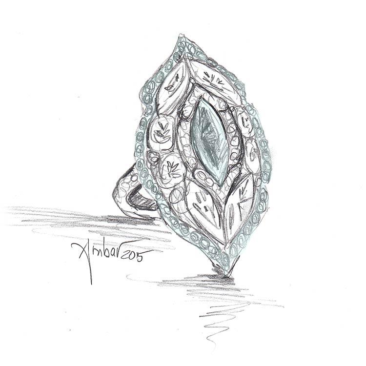 Drawn jewelry diamond ring Rings free setting Unusual marquise