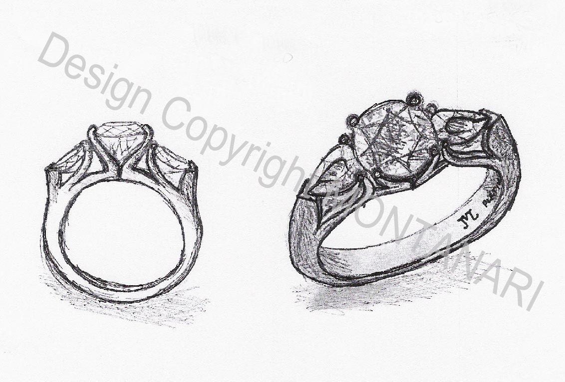 Drawn jewelry diamond ring Diamond Custom Fine Handmade Platinum