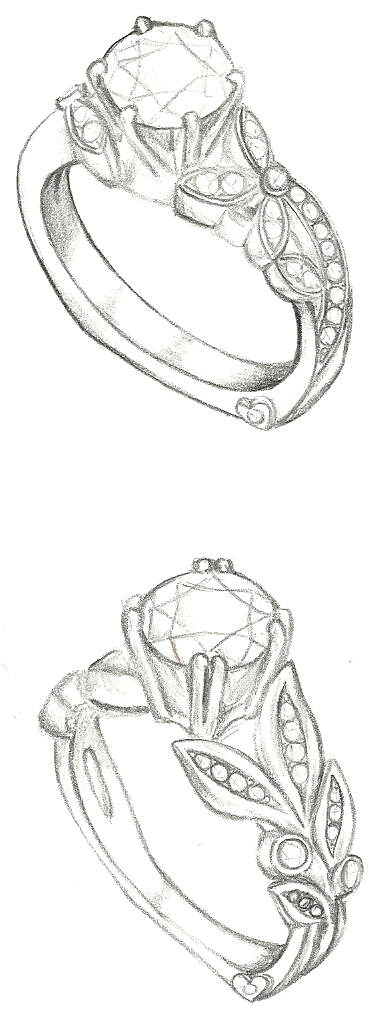 Drawn jewelry diamond ring DrawingJewellery Mark floral sketches sketches