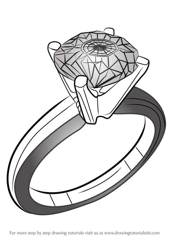 Drawn jewelry engagement ring Ring Diamond DrawingTutorials101 for a
