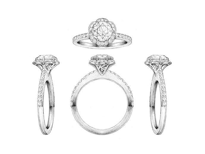 Drawn jewelry engagement ring  Ring two InspiriToo Ring