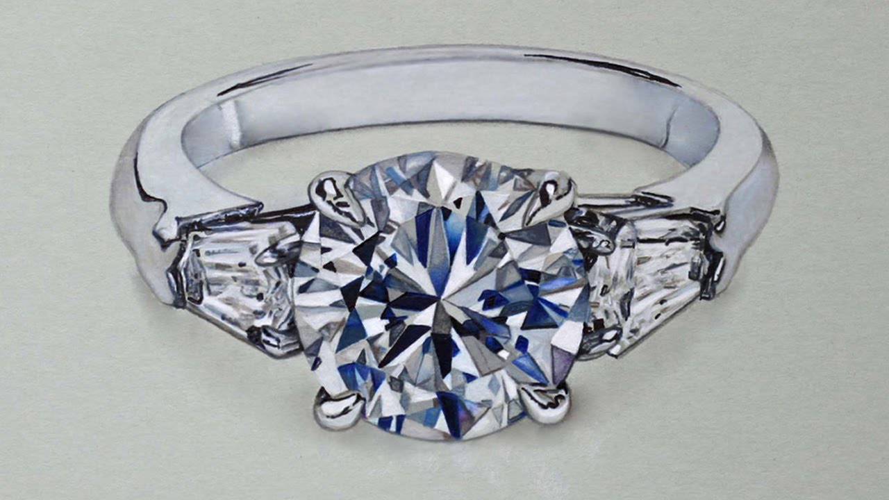 Drawn still life jewelry YouTube Ring Ring Diamond Hyperrealistic