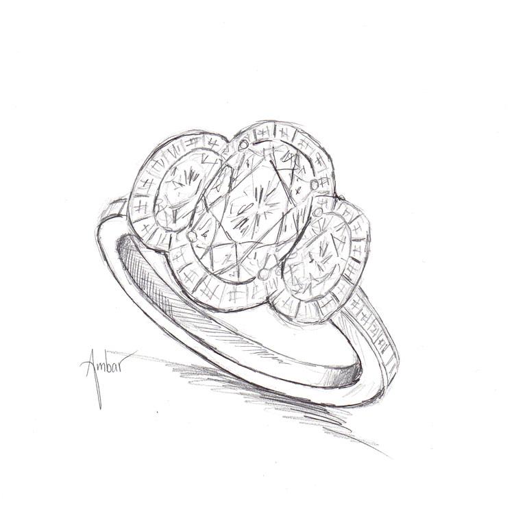 Drawn ring Hand oval blaze ring three