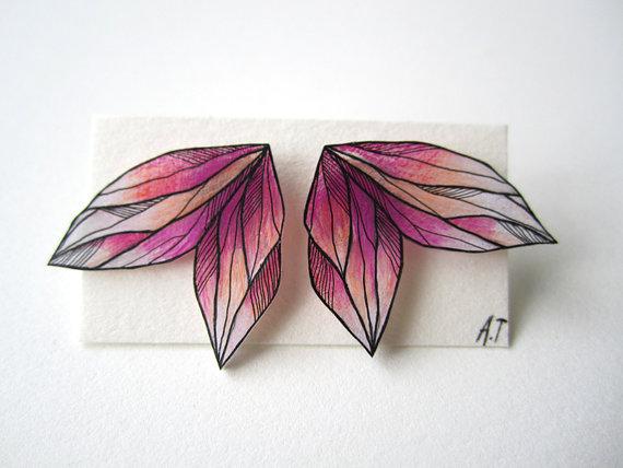 Drawn jewelry jewellery A PINK plastic WING post