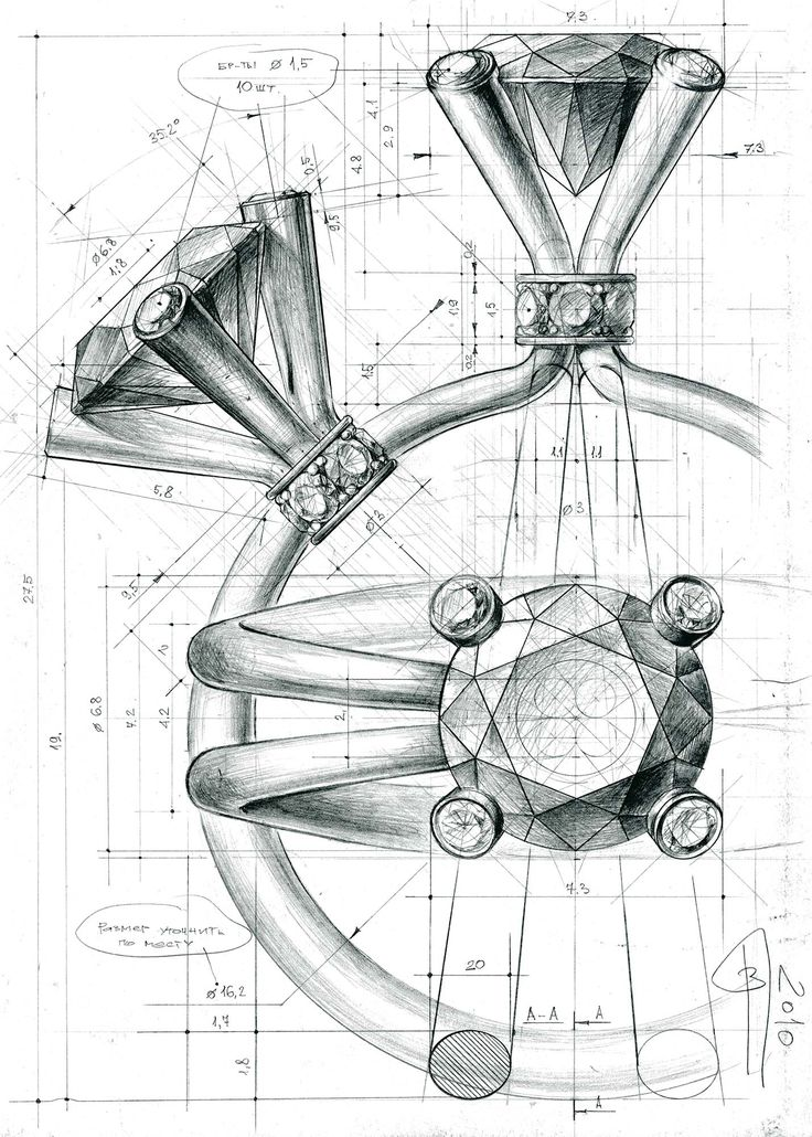Drawn jewelry technical drawing GLYNIN on illustration ГЛЫНИН images