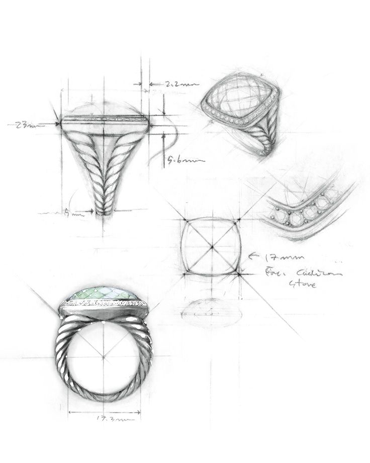 Drawn jewelry technical drawing Design angle from a on