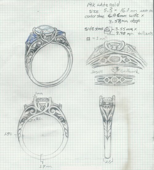 Drawn jewelry technical drawing This CAD 77 CAD on