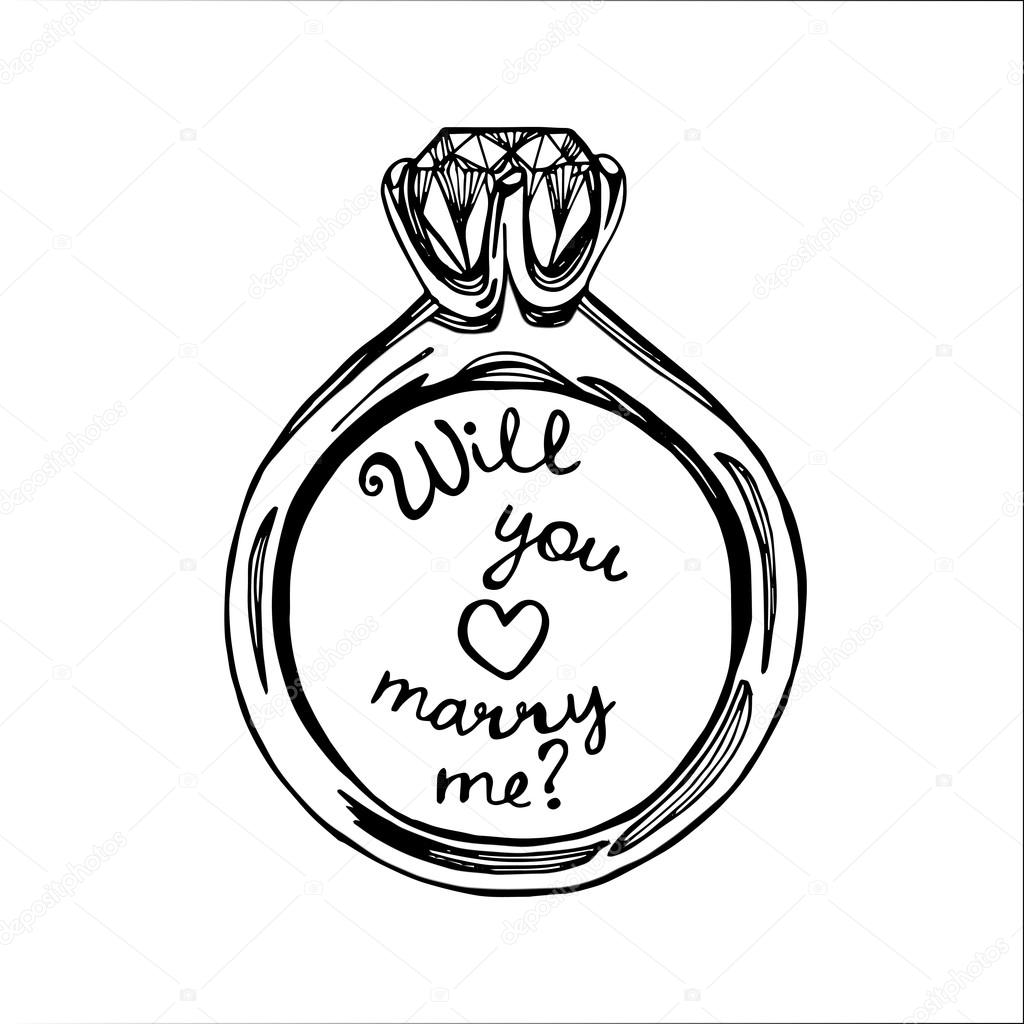 Drawn jewelry wedding ring © — drawn Vector wedding