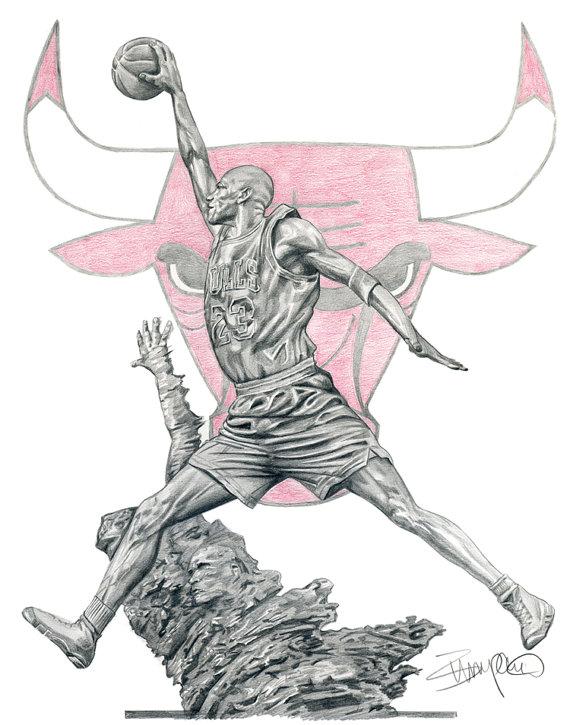 Drawn bull nba Statue Michael Bulls Drawing 11x14