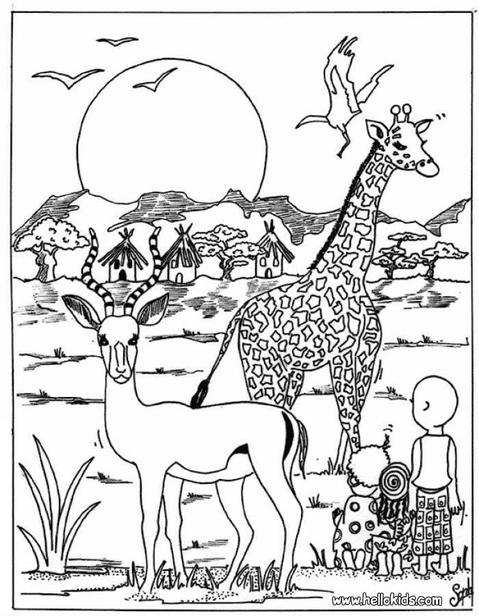 Drawn jungle africa Antelope Kleurplaten Giraffe Craft and
